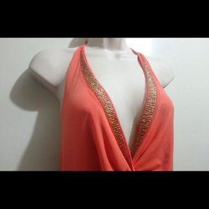 NY&CO orange halter dress